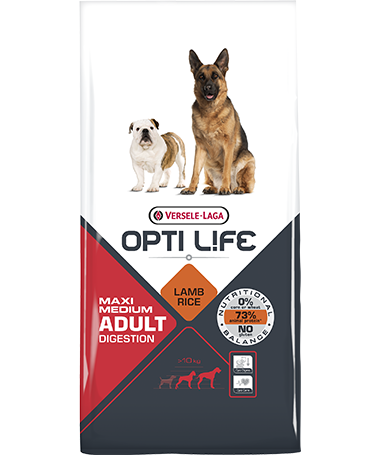 Συσκευασία του Opti Life Adult Digestion Medium & Maxi των 12.5kg. Κωδικός προϊόντος: 431133