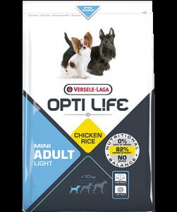 Συσκευασία του Opti Life Adult Light Mini των 2.5kg. Κωδικός προϊόντος: 431137 Διατίθεται επίσης και στην συσκευασία των 7.5kg με κωδικό προιόντος: 431138