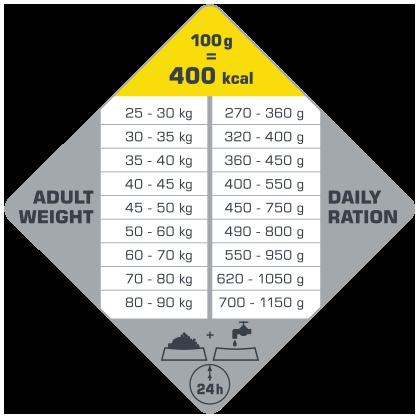 πίνακας με τις συνιστώμενες δοσολογίες για το Opti Life Adult Maxi