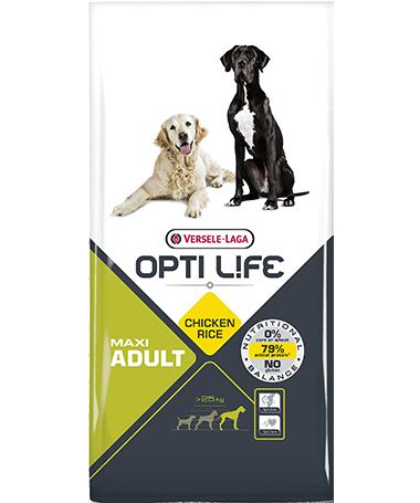 Συσκευασία του Opti Life Adult Maxi των 12.5kg. Κωδικός προϊόντος: 431140