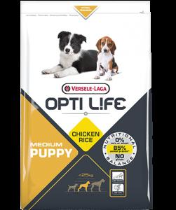 Συσκευασία του Opti Life Puppy Medium των 2.5kg. Κωδικός προϊόντος: 431153 Διατίθεται επίσης και στην συσκευασία των 12.5kg με κωδικό προιόντος: 431154