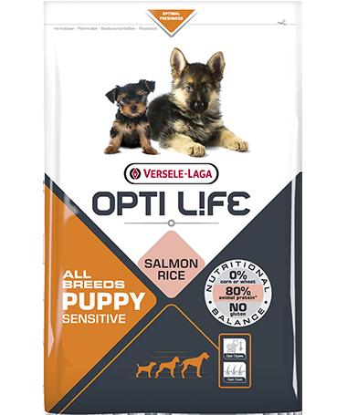 Συσκευασία του Opti Life Puppy Sensitive All Breeds των 2.5kg. Κωδικός προϊόντος: 431162 Διατίθεται επίσης και στην συσκευασία των 12.5kg με κωδικό προιόντος: 431163